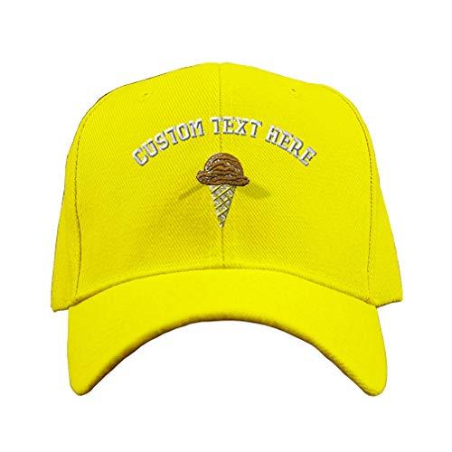 Custom Baseball Cap Children Ice Cream Embroidery Design Acrylic Hard Hat Hook & Loop Yellow Personalized Text Here