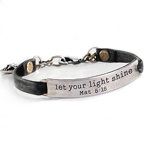 (Sweet Romance Let Your Light Shine Mat 5:16 Inspirational Bible Message Bracelet (Black Leather))