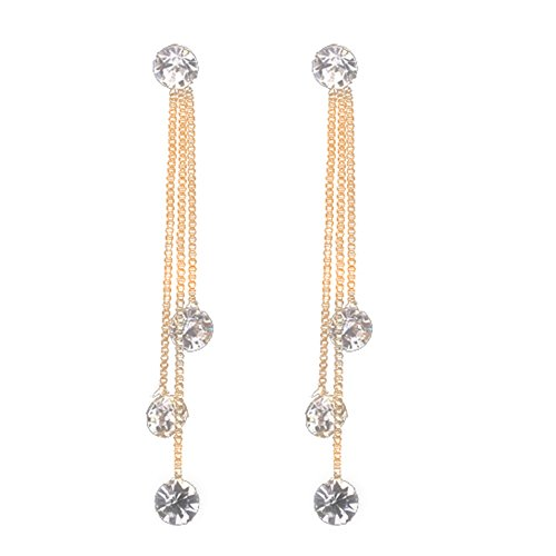 Fashion Jewelry Shiny Faux Rhinestone Long Chain Dangle Stud Linear Earrings Gift - Golden yingyue ()