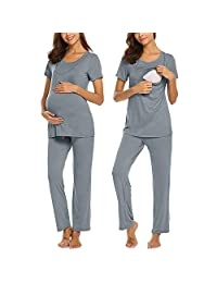 Maternity Wear European and American Short-Sleeved Adjustable Size Summer Solid Color Maternity Nursing Suit Home Service,Light Gray,XL