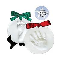 Proud Baby - Kit de recuerdo de huellas y huellas de la mano de arcilla DELUXE - 4 CINTAS - FACIL - ACABADO DE GLAZE - Se seca la piedra - No se hornea - Se seca al aire (hace 2 placas)