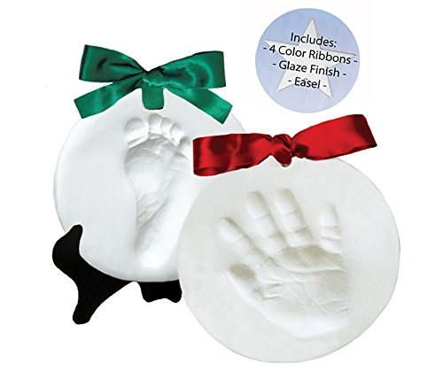 Proud Baby DELUXE Clay Hand Print & Footprint Keepsake Kit - 4 RIBBONS - EASEL - GLAZE FINISH - Dries Stone Hard - No Bake - Air Drying (Makes 2 Plaques) (2 Girl Ornament)