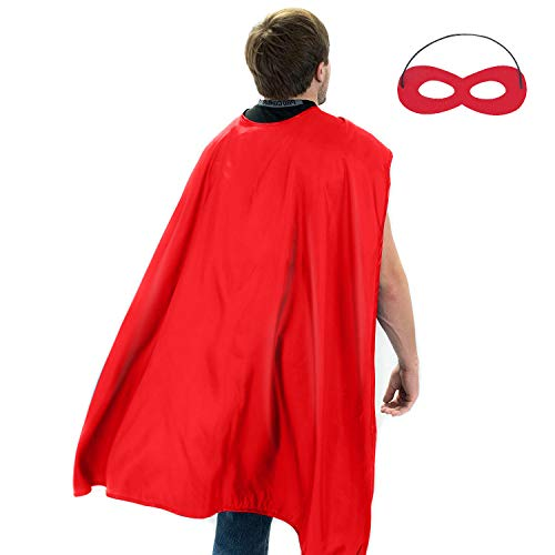 Cheap Diy Adult Costumes (Adult Superhero Capes and Masks - Halloween Costumes Adult Cape Compatible Superhero Party Capes (Adult red)