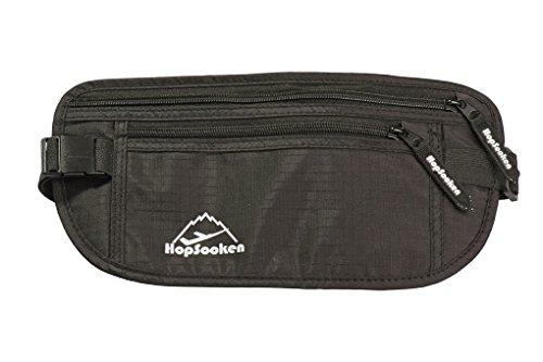 Hopsooken Travel Money Belt: Waist Pack for Running and Cycling, Rfid, Comfortable, Durable and Lightweight Hidden Travel Passport Wallets. (Black)