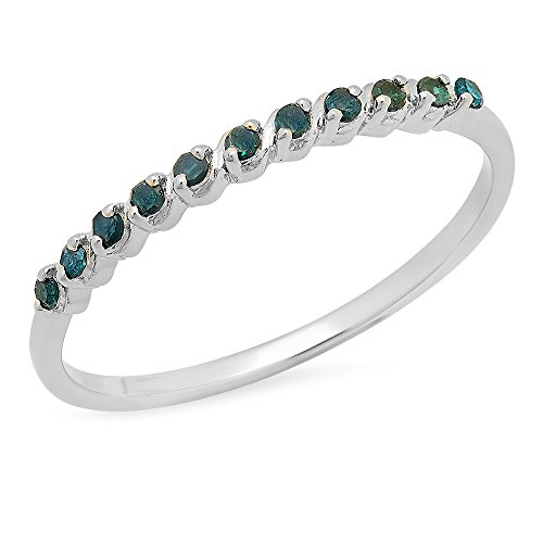 Gemstone Diamond Bands (Dazzlingrock Collection 0.12 Carat (ctw) Sterling Silver Round Blue Diamond Ladies Wedding Band Stackable Ring (Size 6.5))