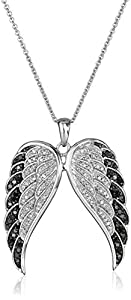 Sterling Silver Black and White Diamond Angel Wings Pendant Necklace (1/2 cttw), 18