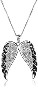 Sterling Silver Black and White Diamond Angel Wings Pendant Necklace (1/2 cttw), 18""