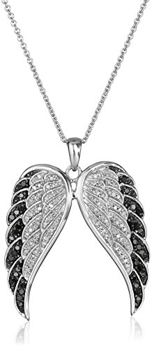 Sterling Silver Black and White Diamond Angel Wings Pendant Necklace
