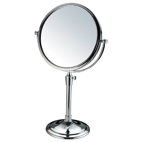 Adeco Round Double-Sided 3X Magnification Table-Top Swivel Cosmetic Makeup Mirror, 8