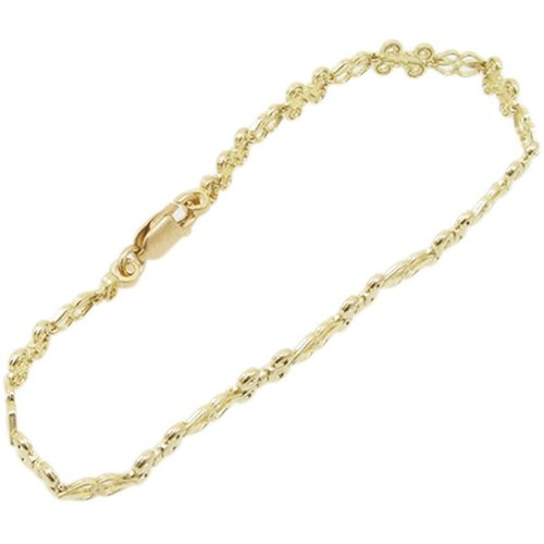 10 k jaune or Femme fancy Or link bracelet style vintage AGWBRP4 7,5 cm de haut et 7 cm de large