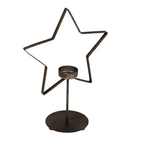 Americana Candle Holder - Standing Star Antiqued Finish 11 x 8 Metal Tealight Candle Holder