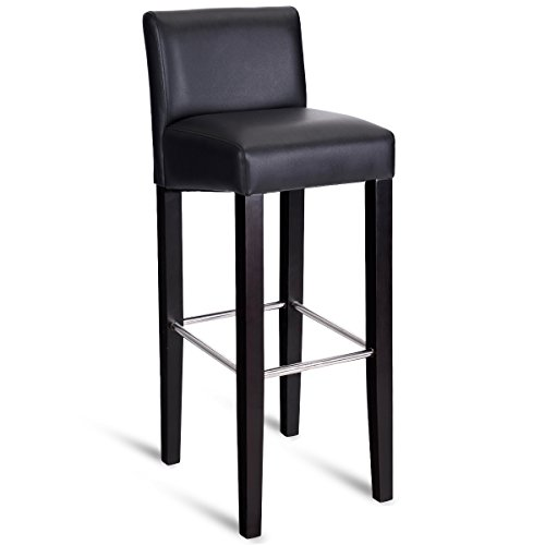 COSTWAY 40'' Bar Stool Modern Contemporary Bar Height Backed Padded Seat Pub Bistro Kitchen Dining Side Chair Barstools with Solid Wood Legs (Black, 1)
