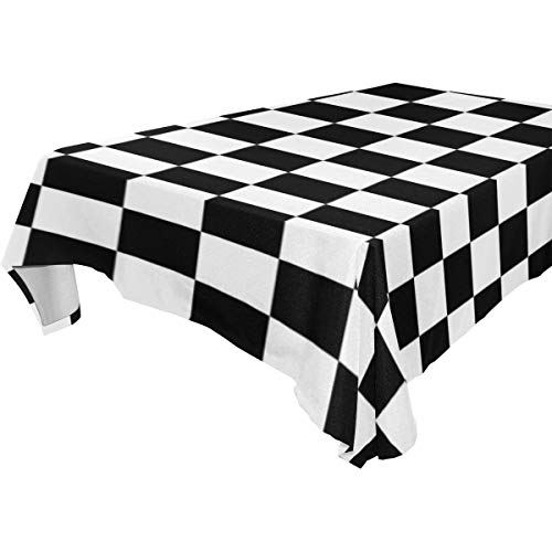 THENAHOME Cute Cartoon Elephant Black White Checkerboard Tablecloths Spillproof Waterproof Fabric Table Covers for Kitchen Dinning