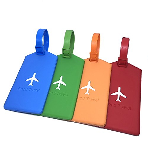 BoomYou Silicone Luggage Tag ID Holder Airplane Travel Suitcase Label Luggage Tag Name Address Card Holder Travel Backpack Handbag Label for Business - 4 Pack (Airplane Address Label)