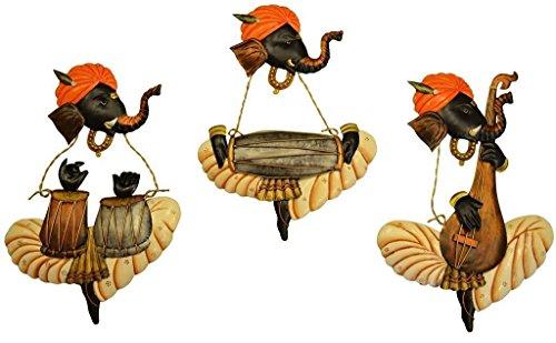 8f1edb4c478 Karigaari Instrumental Ganesha Iron Wall Hanging (43 cm x 30 cm x 7.8 cm