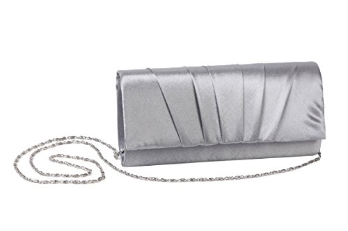 Satin Wedding Womens Pleated Prom Evening blue Clutch Bag Handbag Navy Bridal Damara nUqxwn