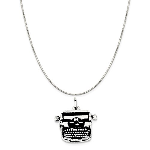 Mireval Sterling Silver Antiqued Typewriter Charm on a Sterling Silver Box Chain Necklace, 18
