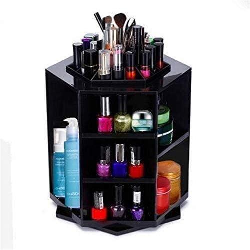 XWYSSH主催 化粧品ストレージボックス360度ボックスストレージオーガナイザーは、ストレージボックス多色化粧品収納ボックスをメイク XWYSSH (色 : ブラック)