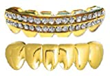 Gold-Tone Iced Out Hip Hop Lower Teeth Solid and Two Row Grillz Set (Bottom) 2 pc Set