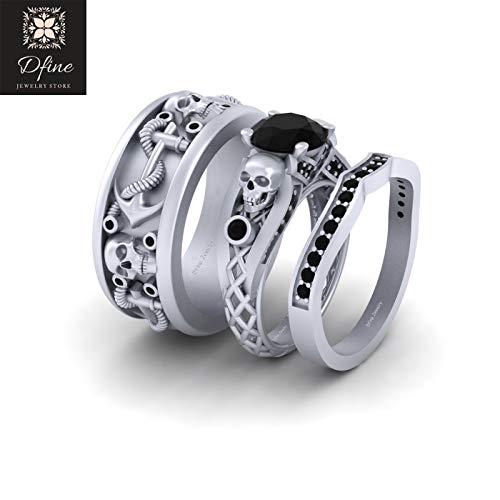 Nautical Rope Anchor Wedding Band Black Onyx Gothic Skull Engagement Ring Couple Set Solid 14k White Gold