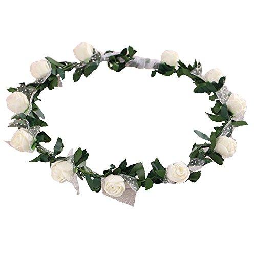 Gilroy Bohemian Rose Flower Crown Headband Bridal Wedding Hair Garland Wreath Headdress - White