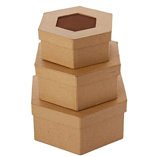 Package of 3 Hexagon Shaped Paper Mache Boxes with Rusty Tin Center Lids for Crafting, Storing and (Dcc Paper Mache)