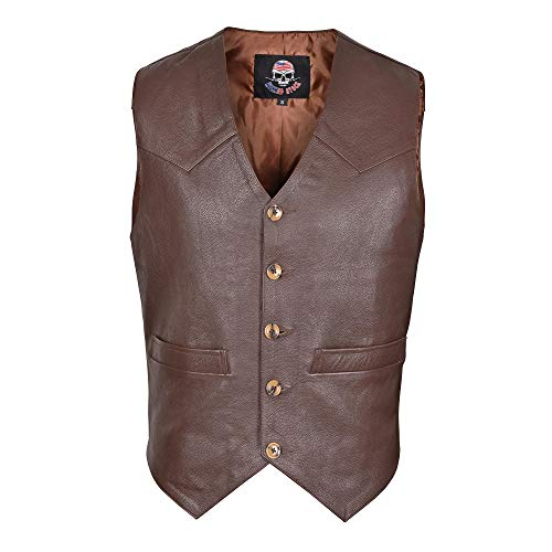 WICKED STOCK Men's Full Grain Brown Leather Vest Western Style Motorcycle Fashion V117 ()