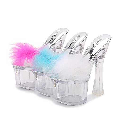 Shoes Club C Summer Crystal up Feather Spring Stiletto Platform Shoes Light Heels New for Shoes 2018 Women's Heel Wedding Heel 1XwqHFd1