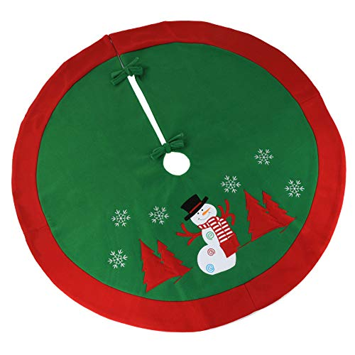 WEWILL 36'' Classic Christmas Tree Skirt Green Felt Red Border Thick Embroidered Snowman Snowflake Vintage Xmas Tree Skirt Double Layers Holiday Decorations