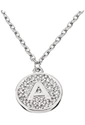 "Sterling Silver Initial Pendant Necklace Letter A with CZ and 18"" Silver Chain"