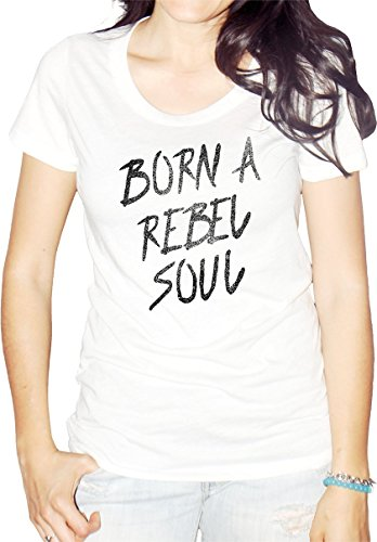 (Lucky Soul Born A Rebel Soul Men T-Shirt White Large)