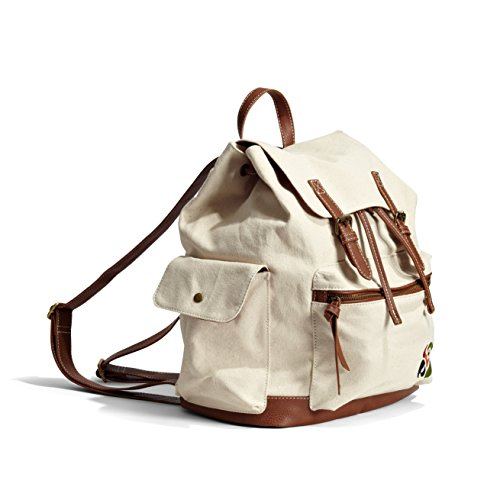 Margaritaville Womens Girls Large Lightweight Logo Trail Bag Backpack Plain Natural Creme/Brown for $<!--$19.99-->