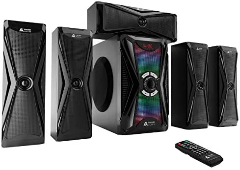 Frisby Audio 125 Watt Dwelling Theater 5.1 Encompass Sound Speaker System with Subwoofer, Bluetooth Wi-fi Streaming from Units & Media Reader, RGB LED Pulse Lighting, Digital Optical Enter – Black