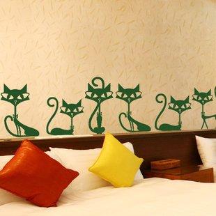 Verde gatos pared adhesivo de vinilo decoración para el hogar para Bar salón cama habitación escaleras study-l: Amazon.es: Juguetes y juegos