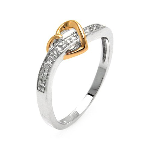 Clear Pave Set Cubic Zirconia Heart Ring Two Tone Plated Sterling Silver Size - Two Tone Pave Set