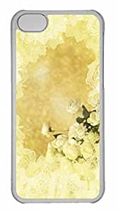 iPhone 5C Case, Personalized Custom White Roses for iPhone 5C PC Clear Case