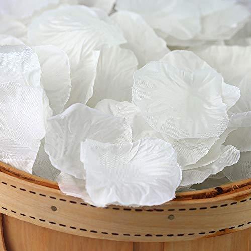 DomeStar Artificial Flower Petals 2000PCS Fake Rose Petals Fabric Petals Silk White Rose Petals for Romantic Night Wedding Valentines