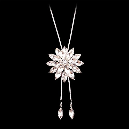 Meolin Fashion Flower Diamond Pendant Necklace Sweater Chain Long Necklace Jewelry,white,80cm