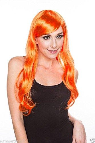 Halloween Cosplay Long Wavy Orange Party Wig Shirley Fenette Rena Ryuuguu -
