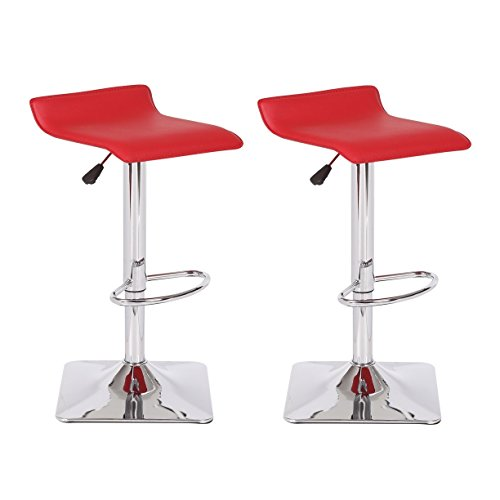 US Pride Furniture Dylan Adjustable Swivel Bar Stool Set of 2, Red