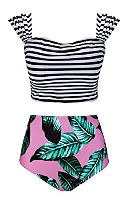 Angerella Floral Printed Swimwear High Waisted Bikini 2 Piece Swimsuit Bandage Bathing Suit