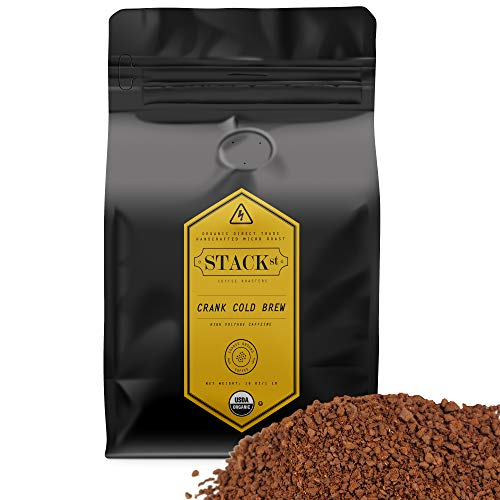 Organic Cold Brew Coffee Grounds, 1 lbs - CRANK High Voltage Caffeine Flavor Dark Roast, Coarse Grind - Handcrafted, Single Origin, Micro Roast, Direct Trade - By Stack Street