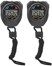 Jadpes Cronómetro deportivo Cronómetro, 2 PCS Profesional Multifuncional Digital Electrónico Cronómetro deportivo Cronómetro de mano LCD Cronómetro para carreras