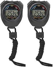 Sports Stopwatch Timer Multifunctional Digital Handheld Stopwatch 2 Pcs