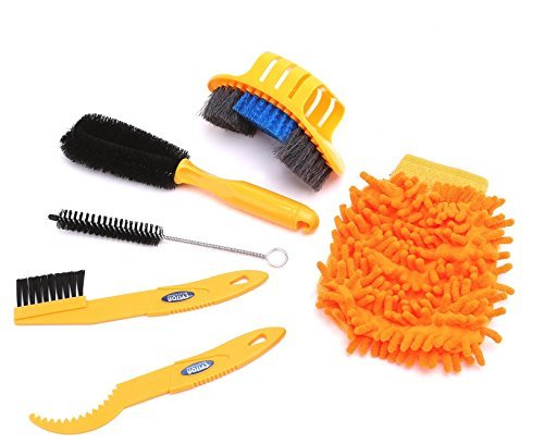 BlueSunshine 6 Pieces Precision Bike Bicycle Cleaning Brush Tool Kit Set Compact Multipurpose Practical for Mountain, Road, City, Hybrid,BMX Bike and Folding Bike (Orange)