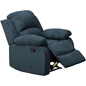 BONZY Wall Hugger Recliners Chair with Thickened Padded Arm/Back Seat Living Room Manual Reclining Chairs - Blue