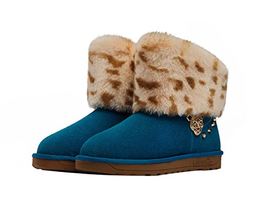 beschlagene Damen Blau warme Nubuck Leopard HooH Schneeschuhe CfSxqzzU
