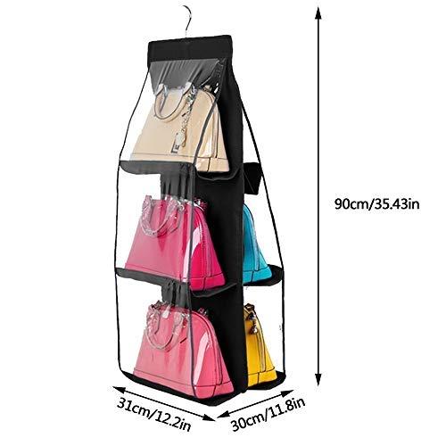 Storage Holders Racks - Hanging Handbag Organizer Dust Proof Storage Holder Bag Wardrobe Closet With 6 Large Pockets - Storage Racks Holders Storage Holders Racks Table Hook Hanging Purse Org