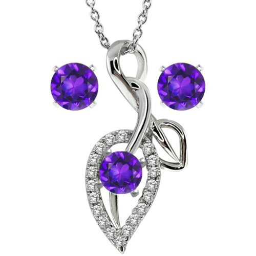 Gem Stone King 1.80 Ct Round Purple Amethyst 925 Sterling Silver Pendant Earrings Set 18inches Chain