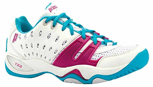 Prince Women's T22 Tennis Shoe-7 B(M) US-White/Aqua